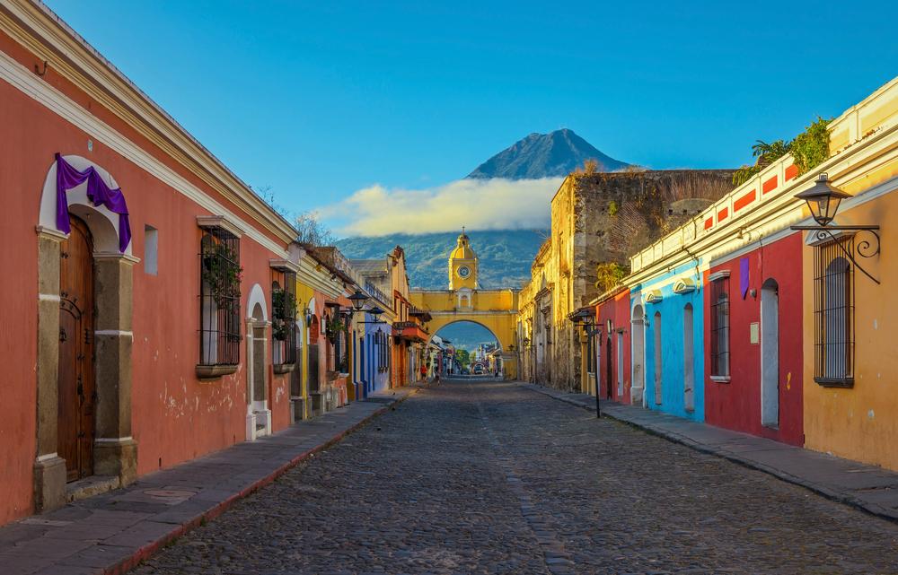 a colorful street in antigua, guatemala