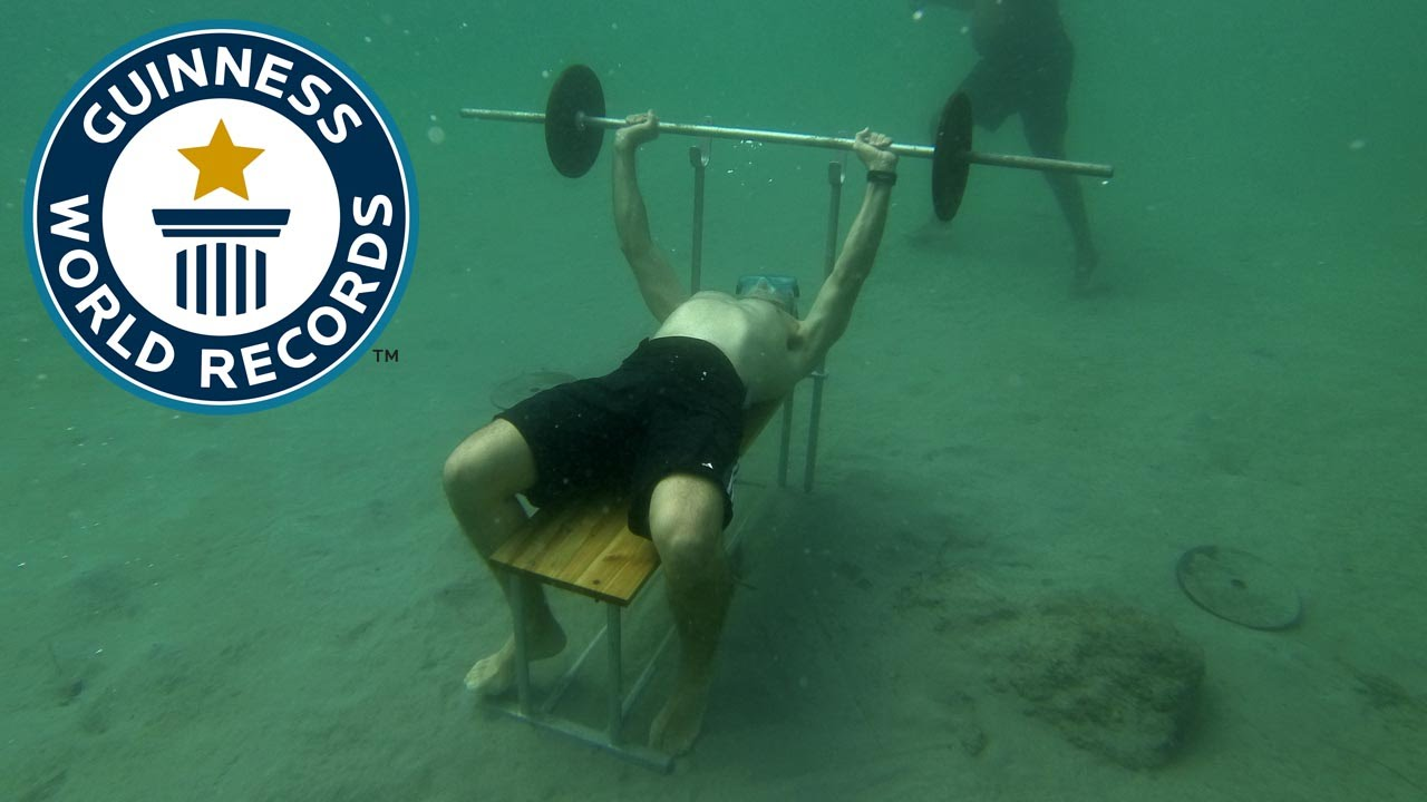 Bench press underwater record done by Gerald Rioual