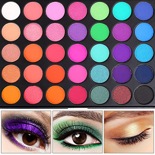 eyeshadow palette, 35 bright colors