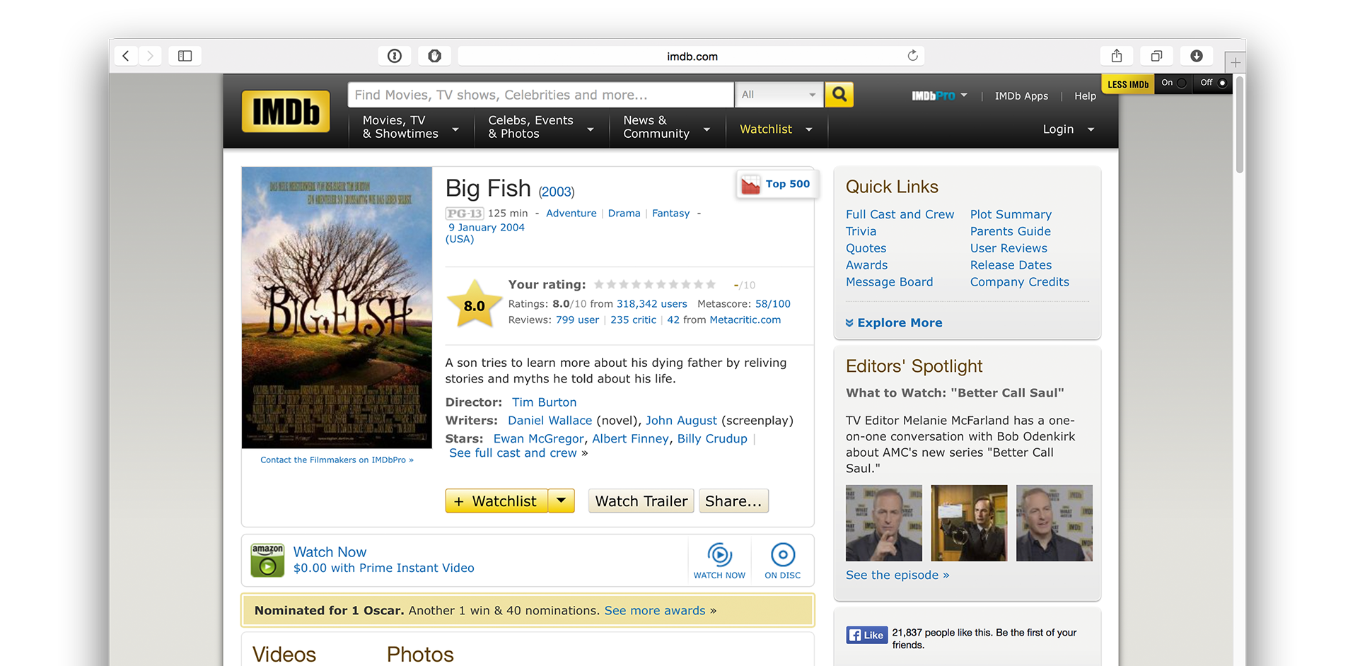 IMDB is one of the largest database for movies as well it's popular movie reviews