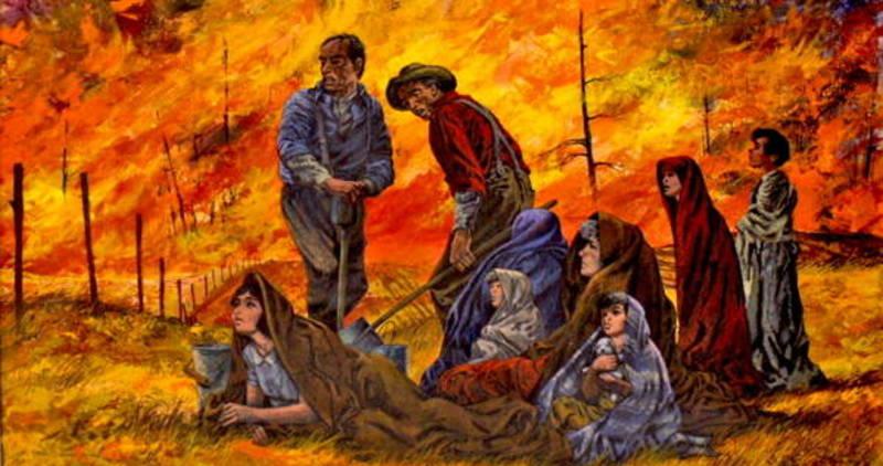 A drawing of the peshtigo fire