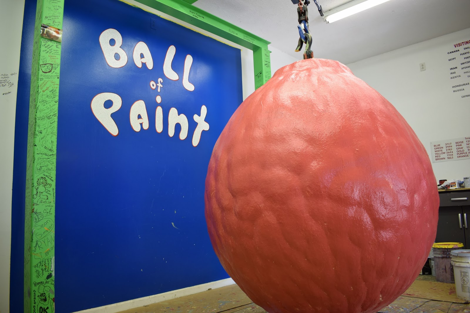 The world record for the largest ball of paint was painted by Carmicheal and his wife