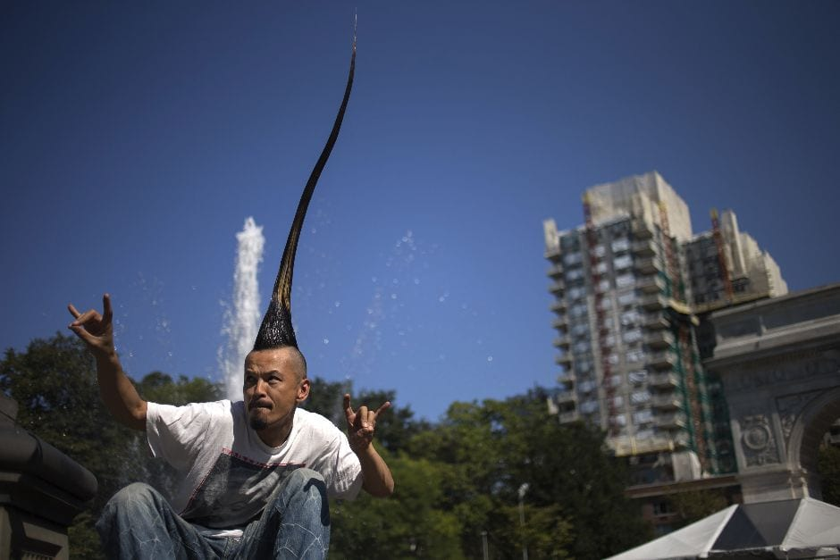 Kazuhiro Watanabe holds the weird world record for having the Tallest Mohawk