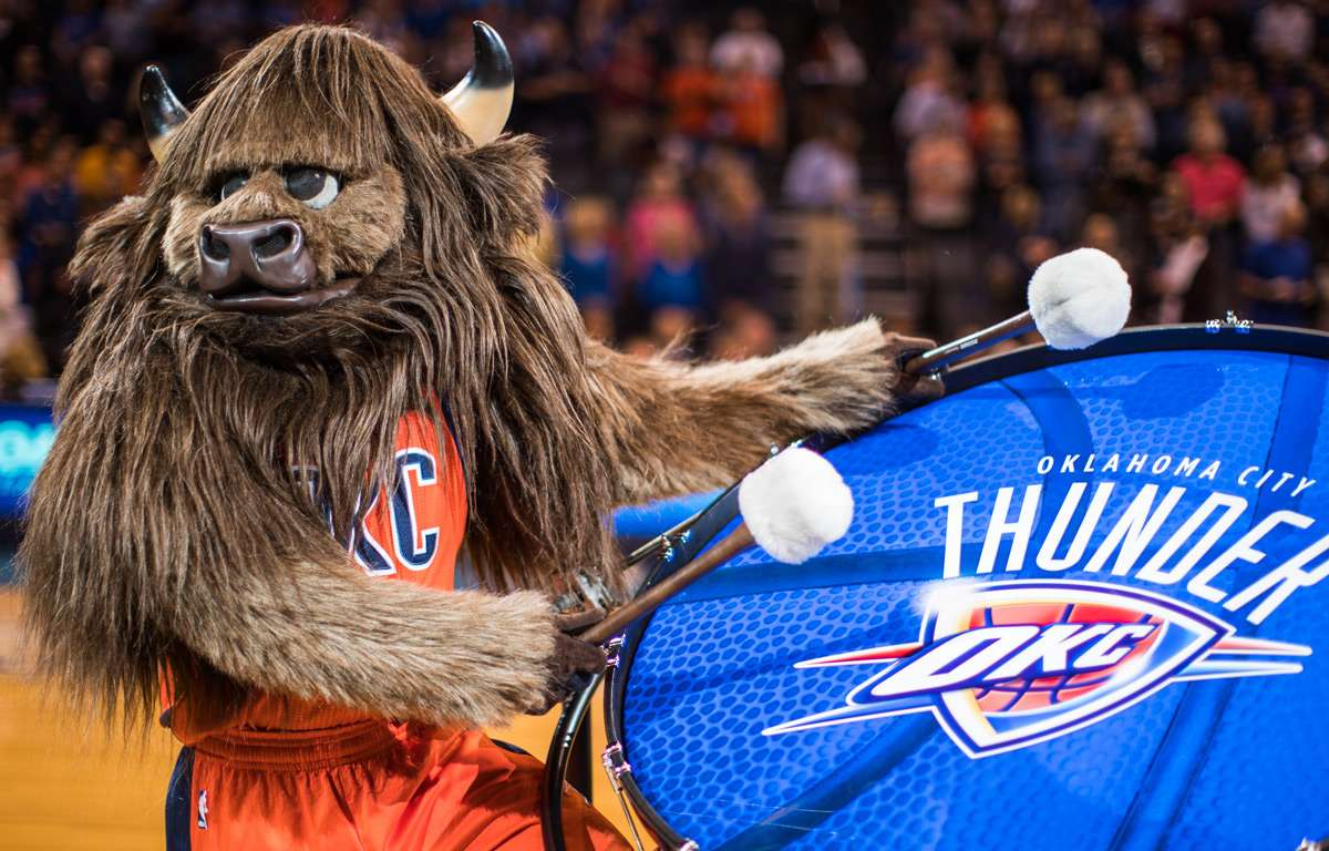 OKC's mascot, Rumble, who signature entry is beating of a bass drum is on the list of worst mascots in sports