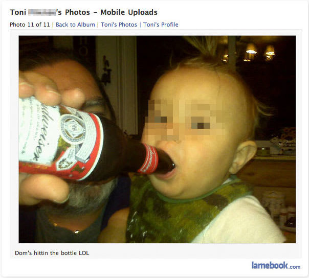 baby drinking beer