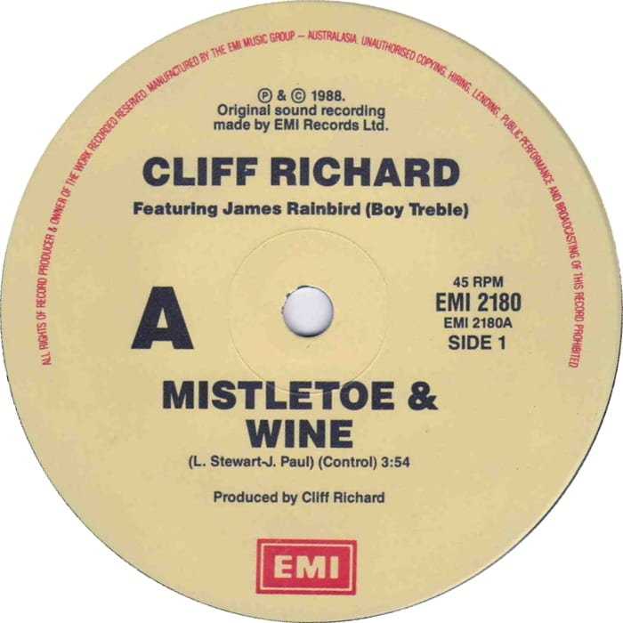 "A copy of Cliff Richard's Mistletoe & Wine - One of the best Christmas carols of all time ""width ="" 700 ""height ="" 700"