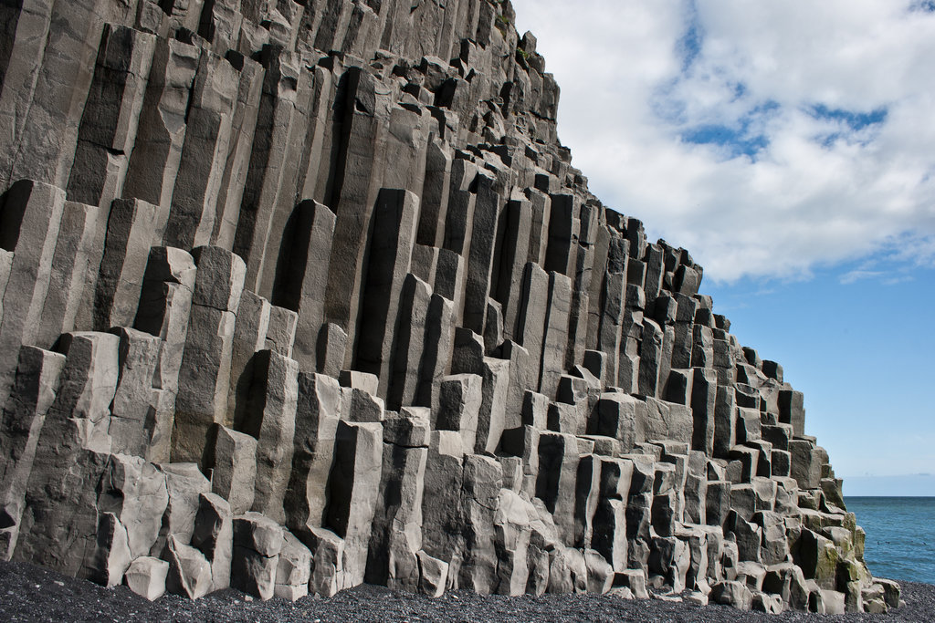 Basalt rocks forming columns - Basalt is one of the top densest materials in the world