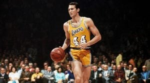 Jerry West playing for the Lakers - West is one of the highest scoring players in the NBA