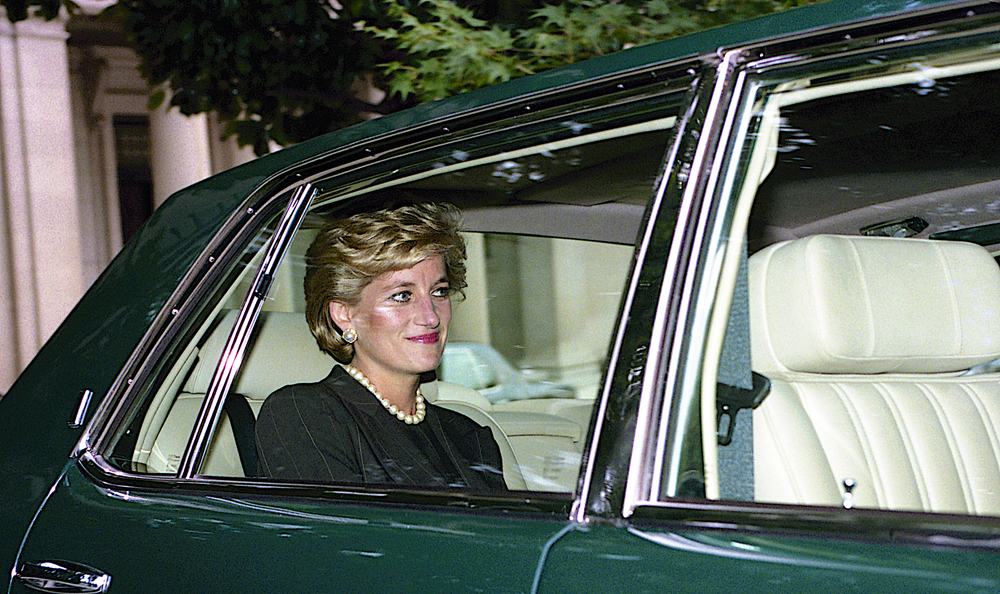 princess diana in a car