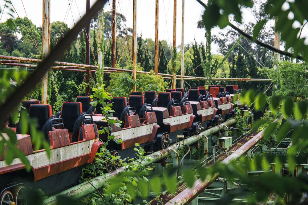 an abandoned roller coaster train