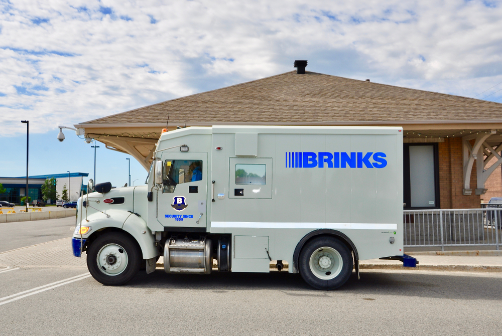 brinks armored vehicle seen parking on the street