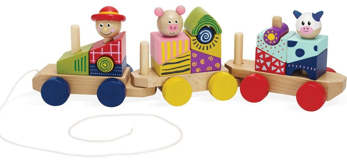 best toys for a one-year-old stack and pull block trains
