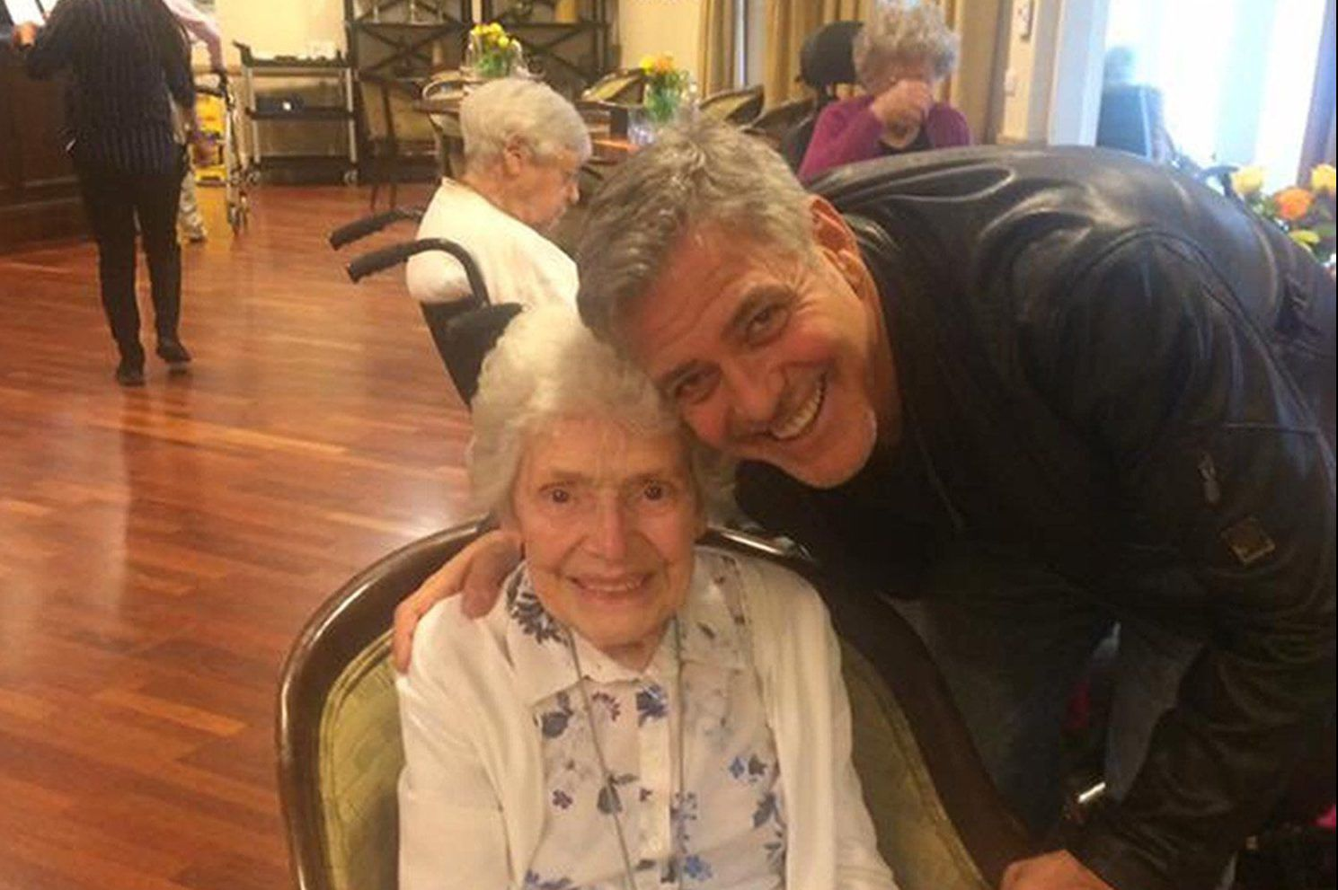George Clooney with 87-year-old woman