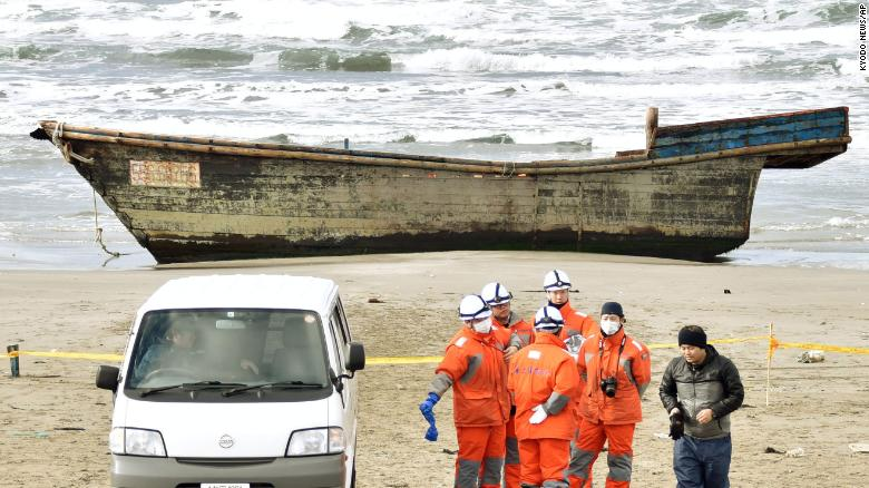 A North Korean Ship washing up on a Japanese shore is one strange found on a beach