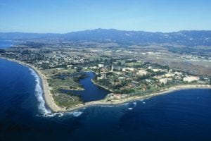 Aerial View of the UCSB Coast Line - most beautiful college campuses