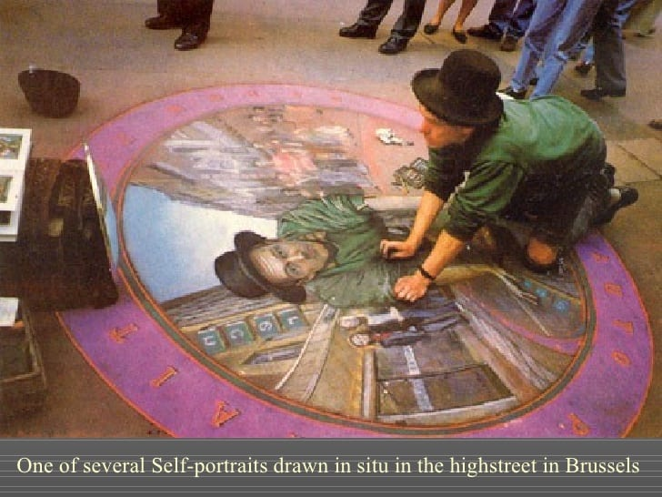 This 3d street chalk self-portrait is an amazing work of Julian Beever