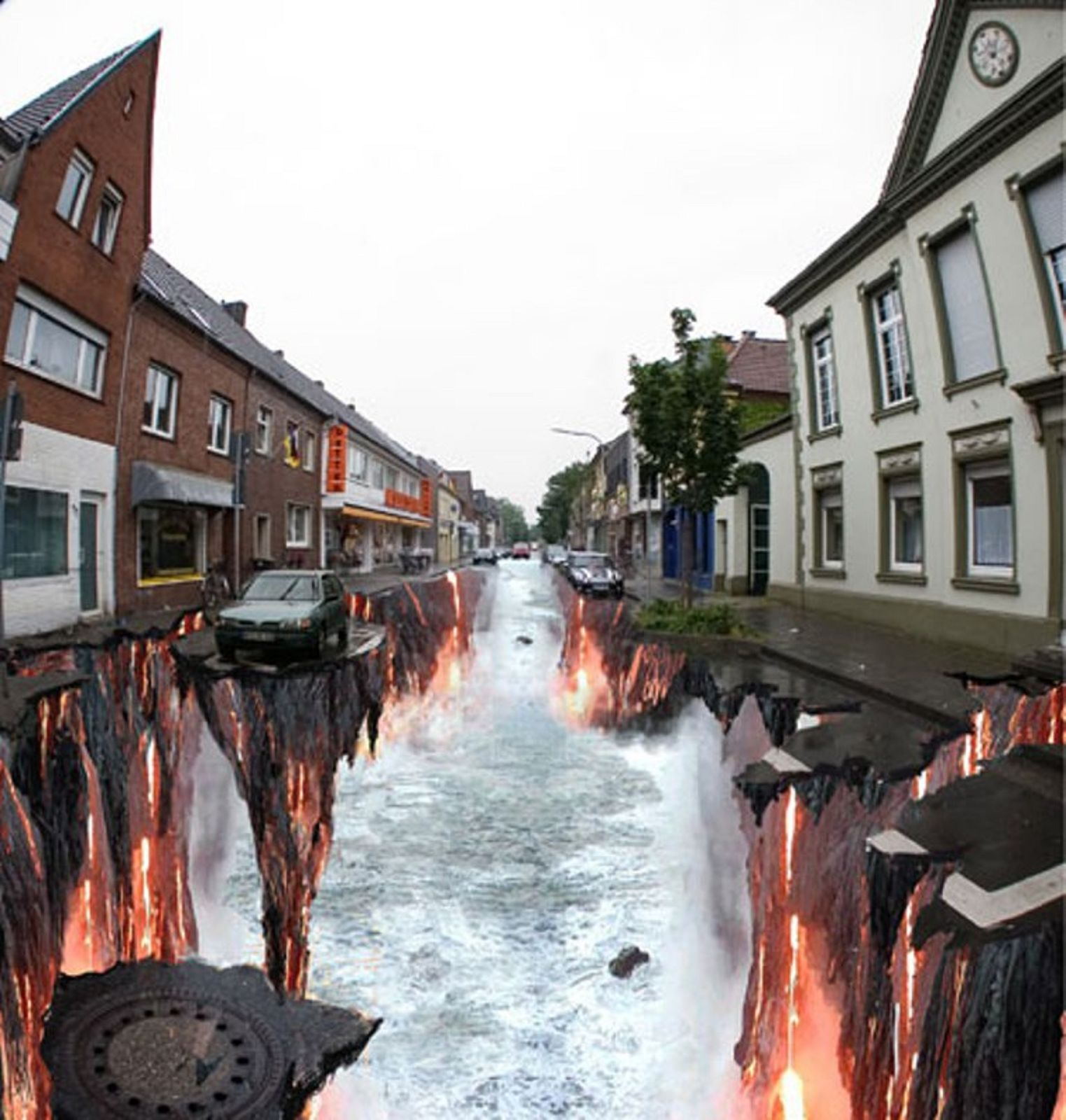 It is a bad-ass 3D street chalk creation designed by Edgar Muller