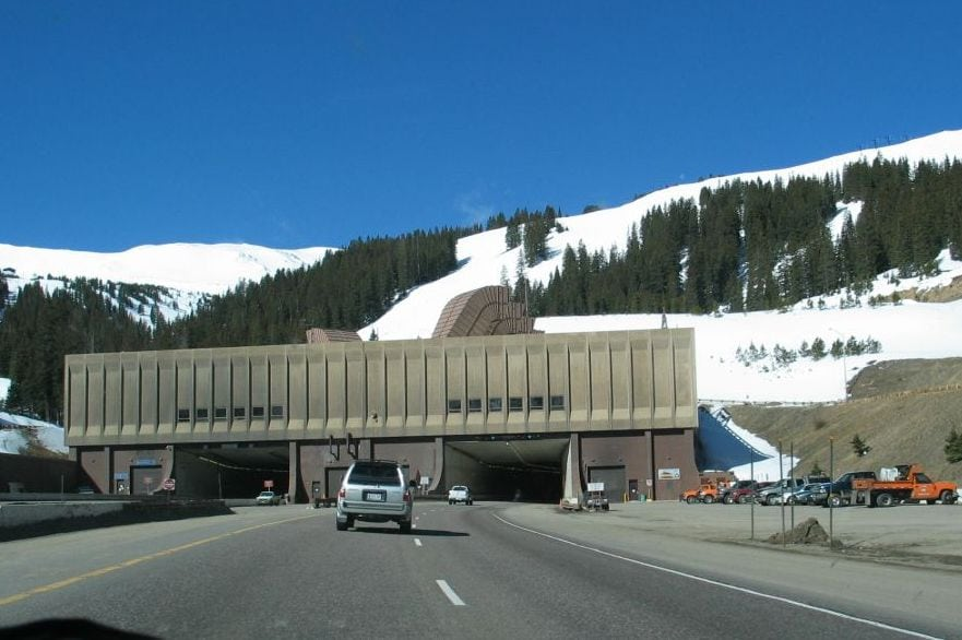 longest tunnels in us traffic cars entering mountainside tunnel