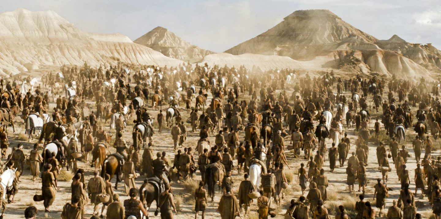 A Dothraki Horde in a scene of GOT - made-up languages
