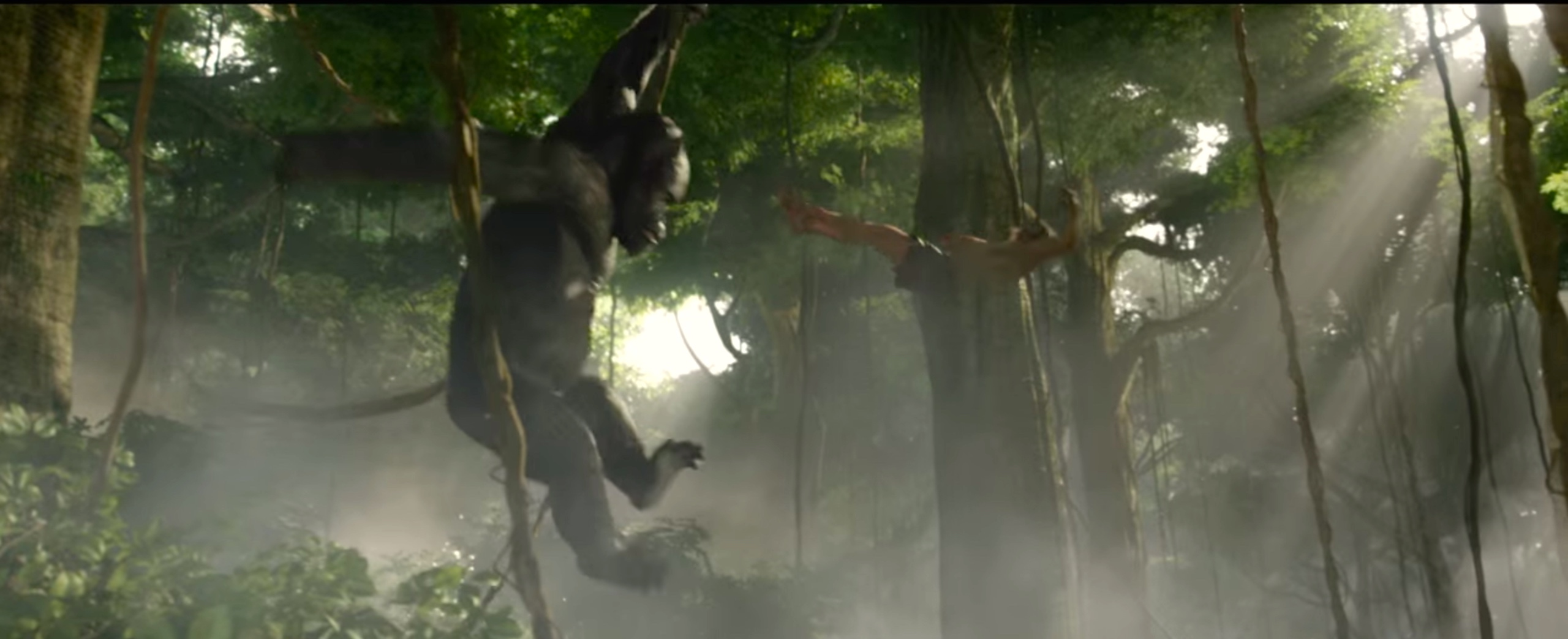 Gorillas flying in Legend of Tarzan - Mangani is one of the made-up languages in the film