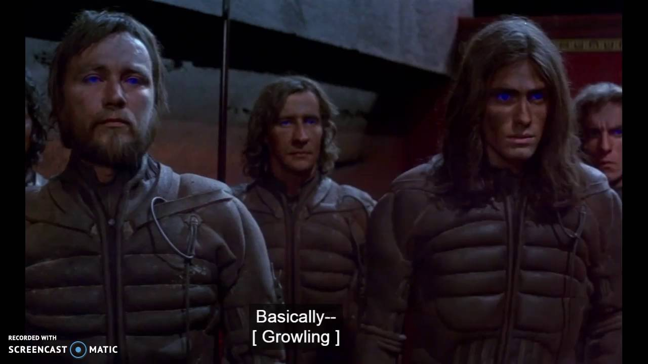 Fremen wearing stillsuits - Dune has one of the made-up languages used in film