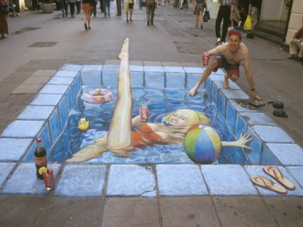 Another 3D high street chalk illusion from Julian Beever