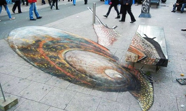 It is considered one of the best 3d street chalk works from Julian Beever