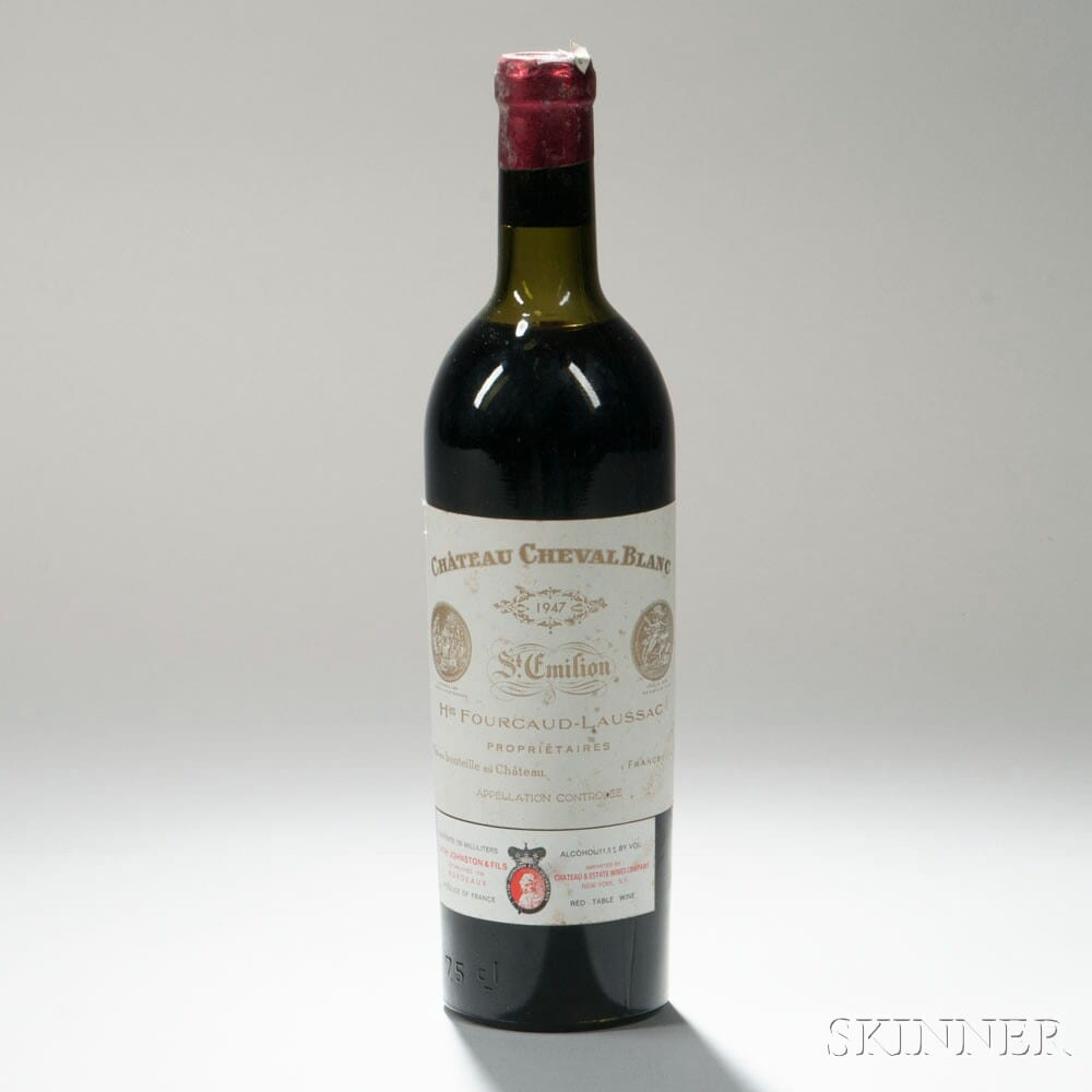 1947 chateau cheval blanc is one of the most expensive bottles of red wine
