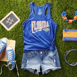 A Gator Girl Go-to look - A Go-to tshirt is one of the coolest things you can use to show off your college football pride