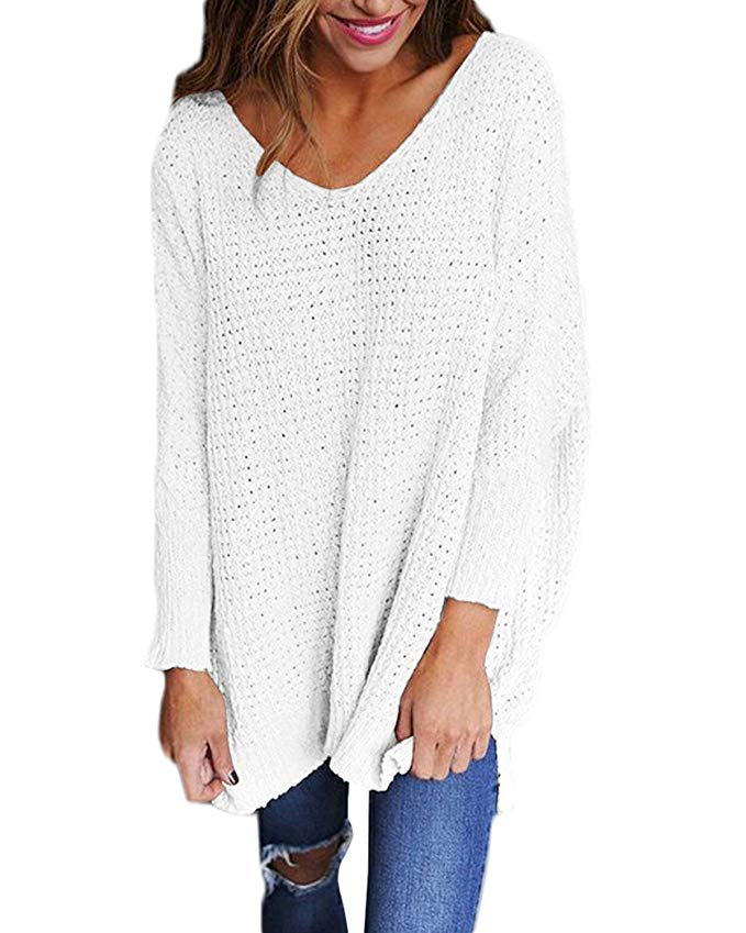 styledome sweater women long sleeve blouse v-neck pullover oversized baggy crochet knitted jumper