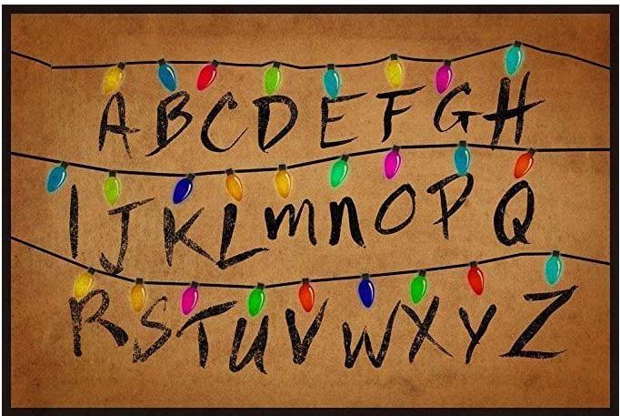 stranger things blanket with christmas lights alphabet