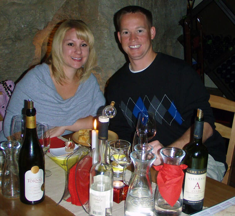 Weekend in Budapest: Jennifer and Tim enjoying a selection of Hungarian wines tasting at Faust Wine Cellar