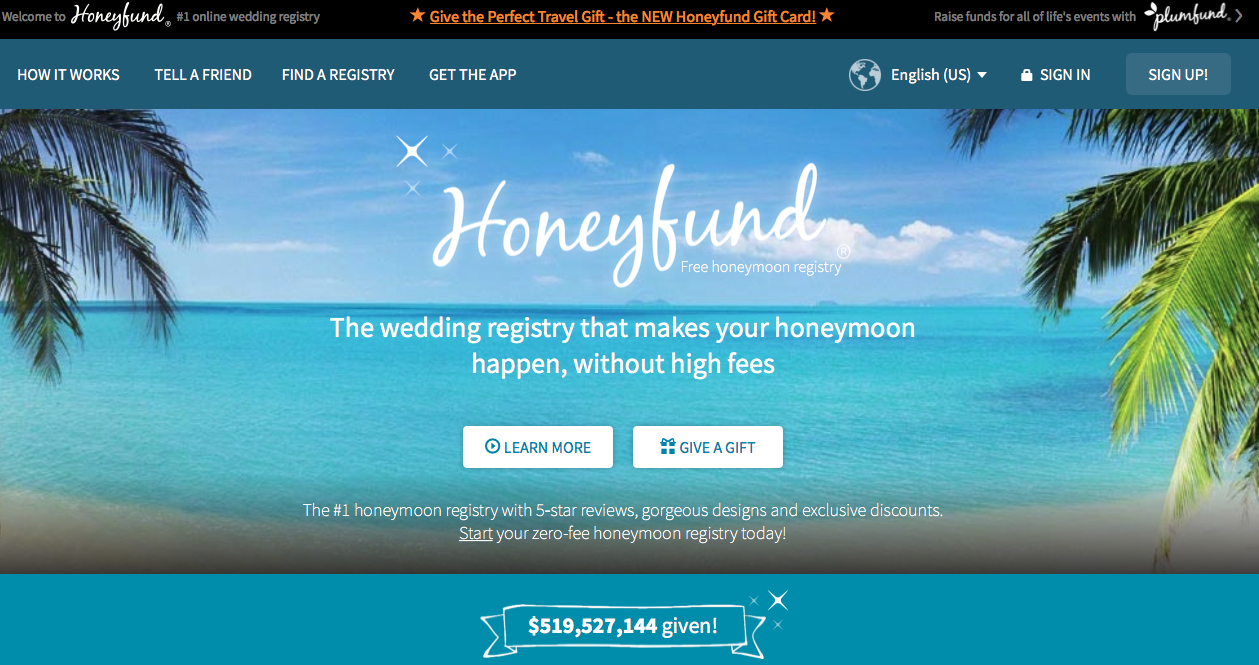 Wedding registry Websites Honeyfund