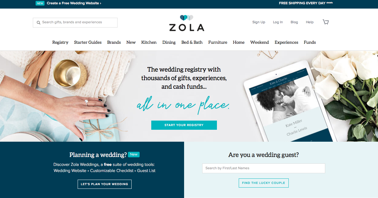 Wedding registry Websites Zola