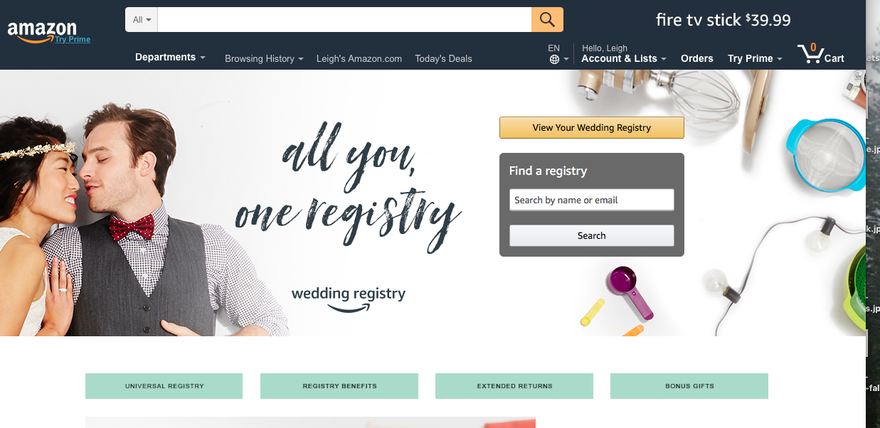wedding registry websites amazon