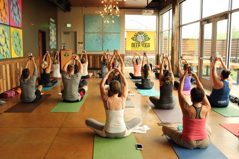 beer yoga class
