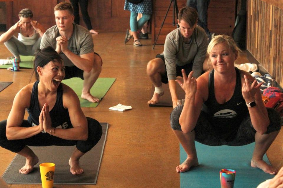 beer yoga malasana