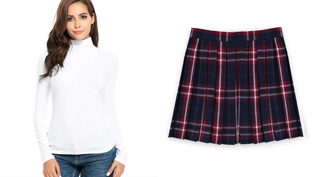 Tartan Skirt and white top