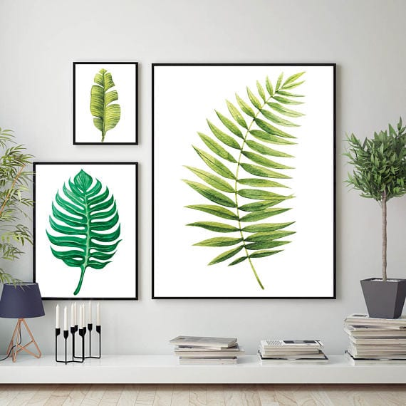 bedroom decoration leaf art print