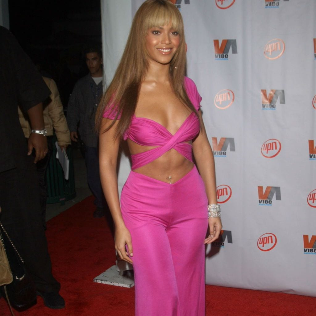 beyonce is a pink jumpsuit