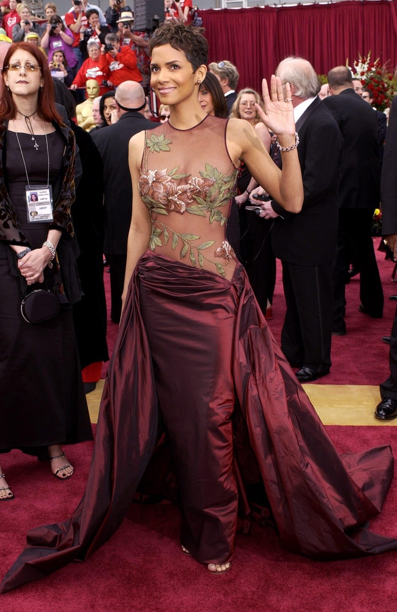 halle berry wearing a maroon dress