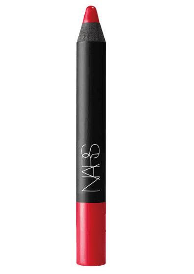 red lipstick NARS velvet matte lip pencil in dragon girl