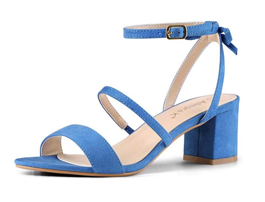 allegra k women's slingback bow ankle strap block heels sandals