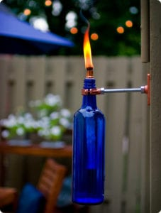 Backyard DIY Wine Bottle Tikki Torch