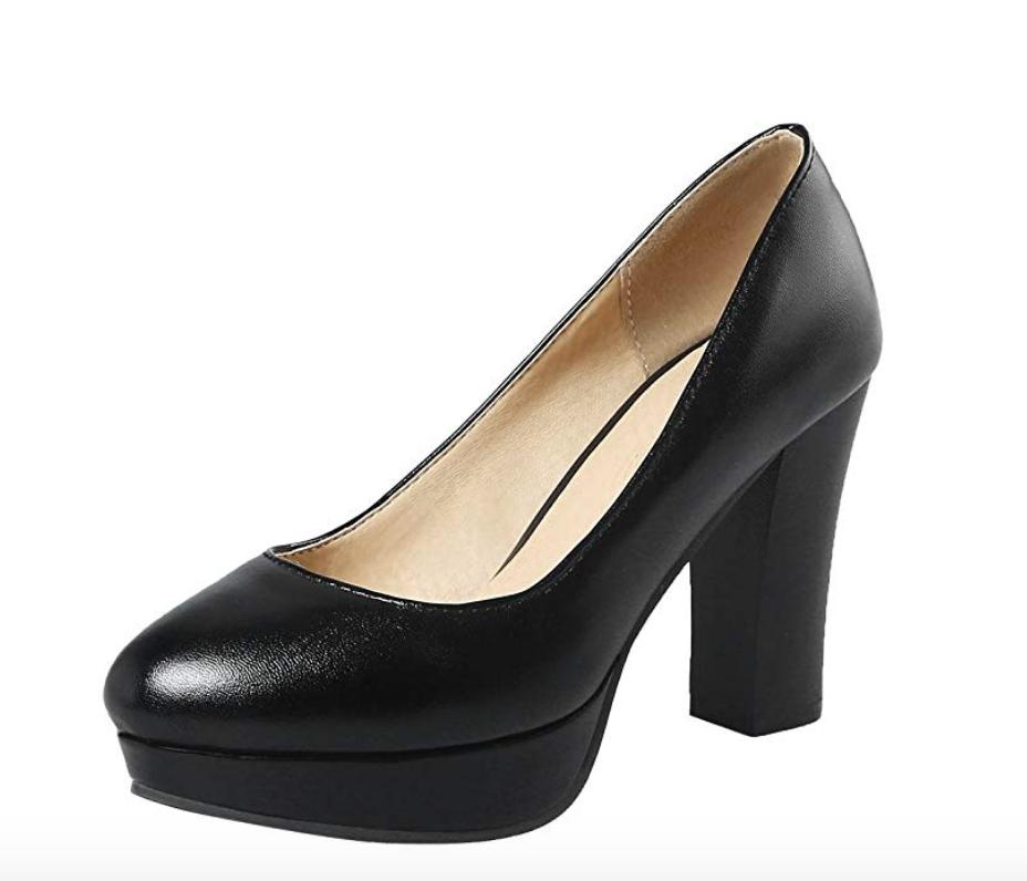 carolbar platform block high heels pumps