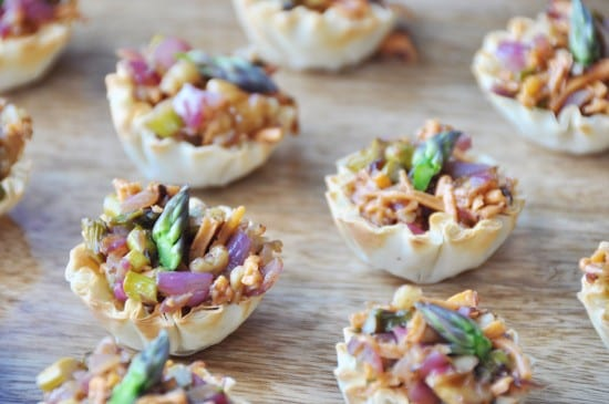 easy vegan appetizers - CARAMELIZED ONION AND ASPARAGUS CUPS