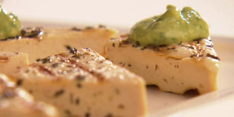easy vegan appetizers - Grilled Herbed Tofu with Avocado Cream
