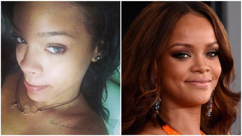 celebrities without makeup Rihanna