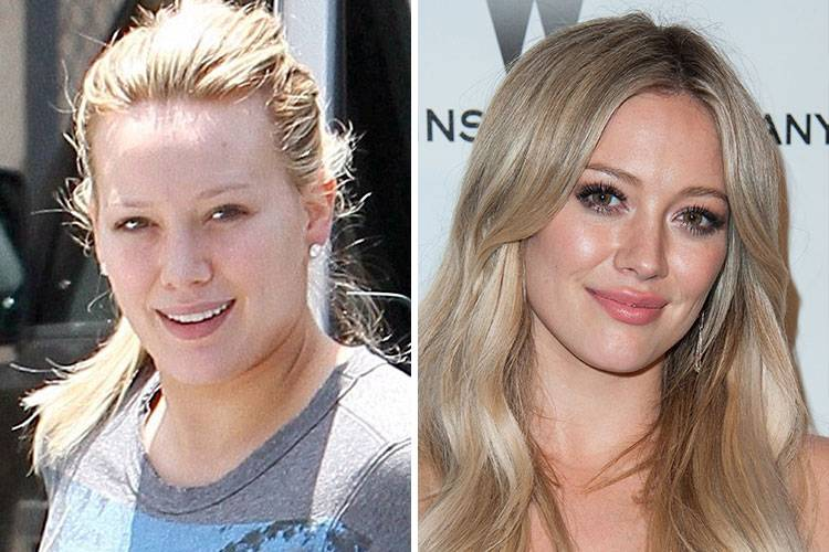 celebrities without makeup Hilary Duff