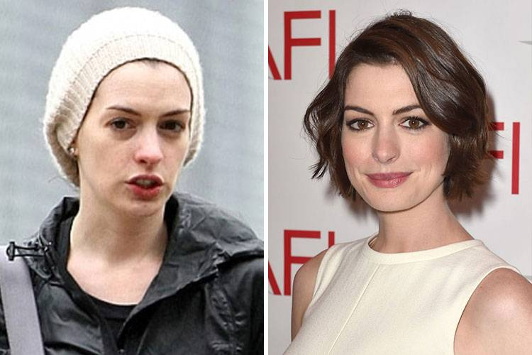 celebrities without makeup Anne Hathaway